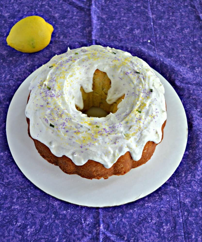 Bite into this tasty Lemon Lavender Cake with fresh lemon frosting and sprinkles!