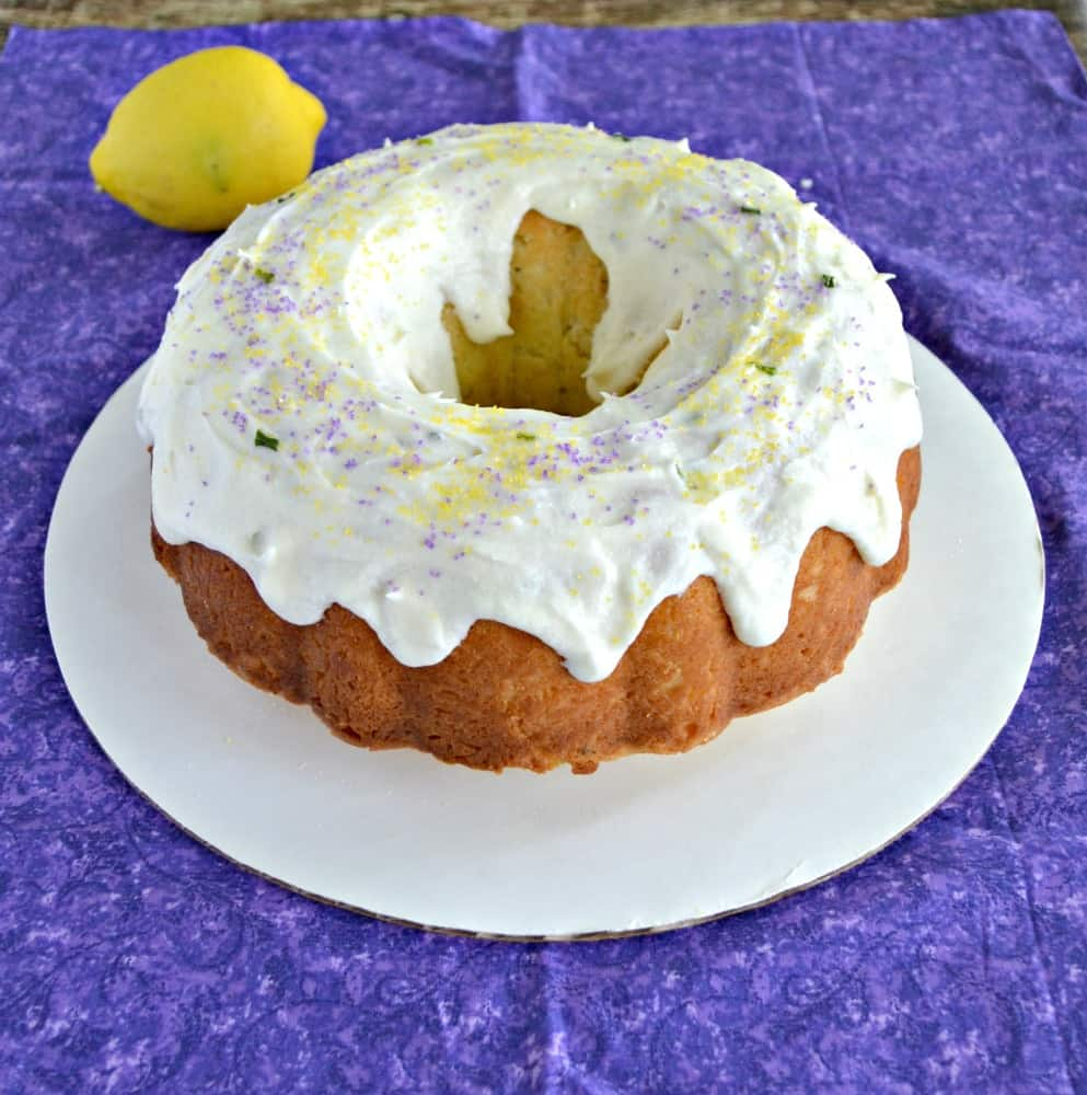Love that this Lemon Lavender Bundt Cake with sprinkles looks like a donut!
