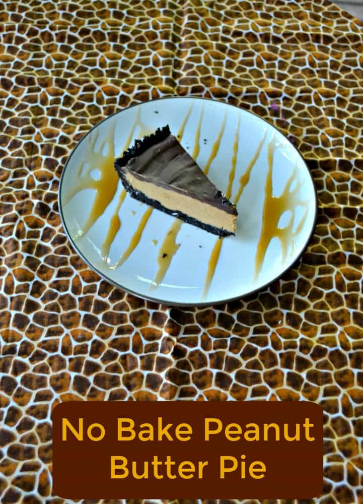 Love this No Bake Peanut Butter Pie with an Oreo cookie crust and Chocolate ganache on top!