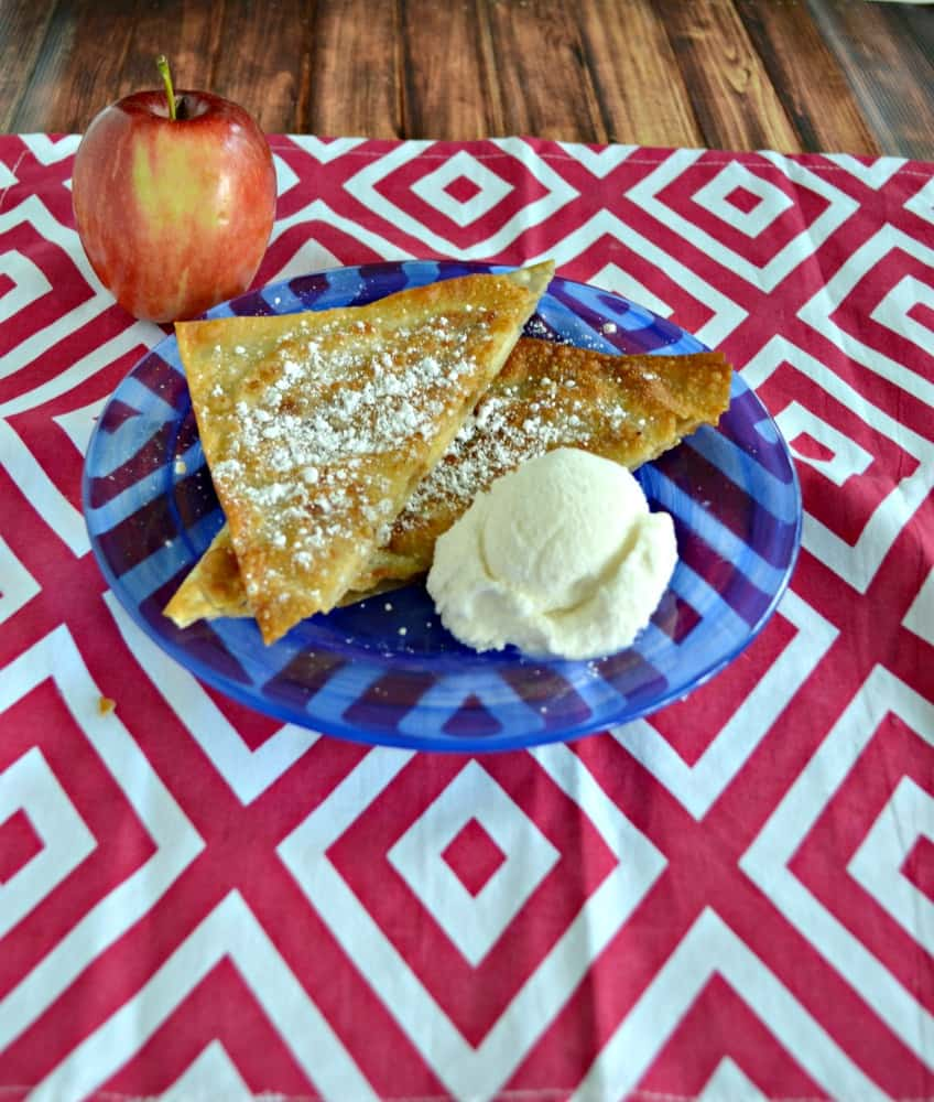 You'll love these crispy Apple Wonton Pockets served with vanilla ice cream