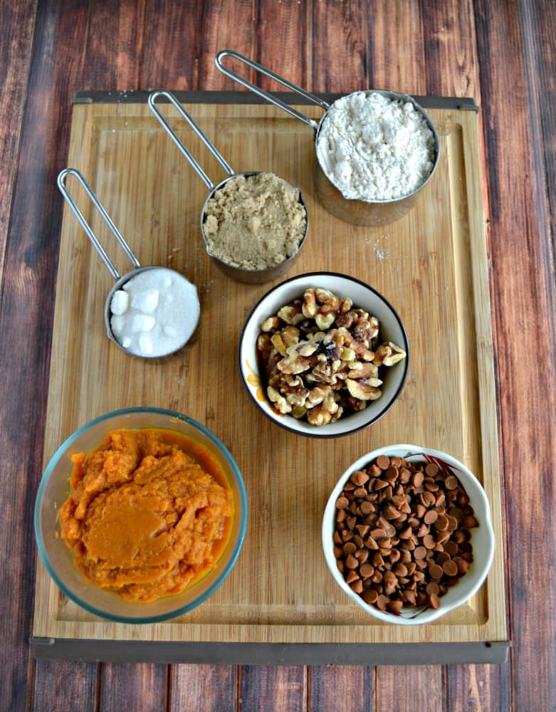 Everything you need to make Pumpkin Bread with Cinnamon Chips!