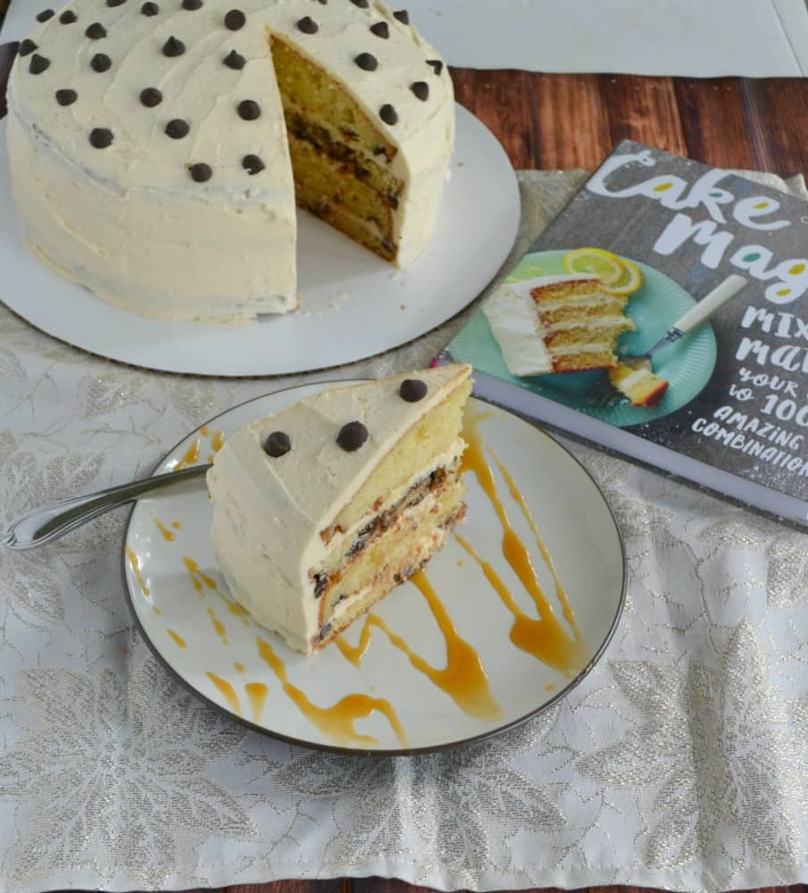 Love this delicious Dream Cake made with Coconut Chocolate Chip Cake, soaked in Sweet Cream Syrup, then layered with Salted Caramel Frosting. It's just one of the awesome cakes in Cake Magic!