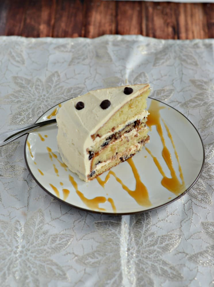 You won't want to share this amazing Dream Cake studded with chocolate chips and topped with Salted Caramel Frosting