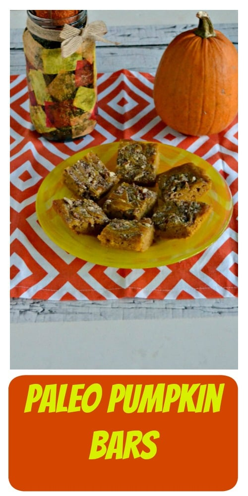 Looking for a delicious fall Paleo dessert? I've got these tasty Paleo Pumpkin Bars for a treat!