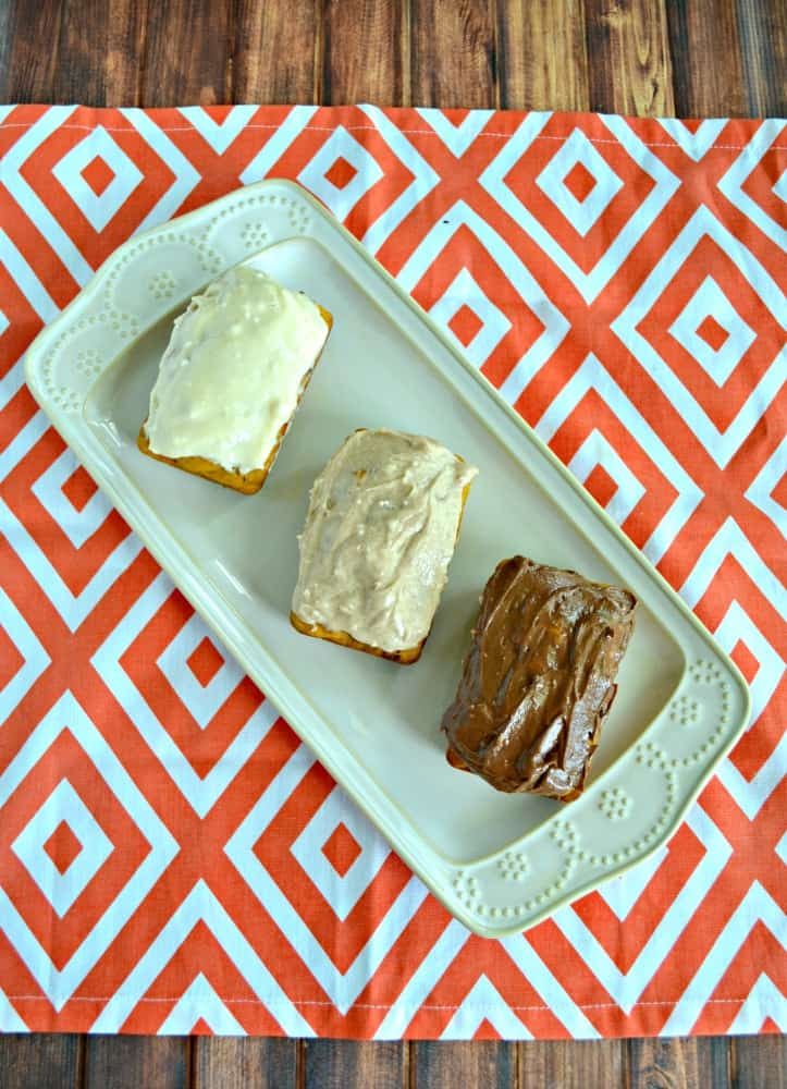 Which Pumpkin Bread is your favorite? I've topped them with chocolate frosting, cinnamon frosting, or salted caramel frosting.