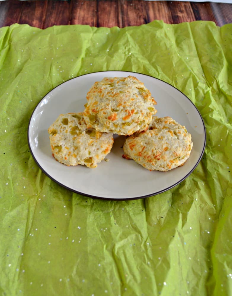 Love these fluffy and spicy Green Chile and Cheddar Biscuits