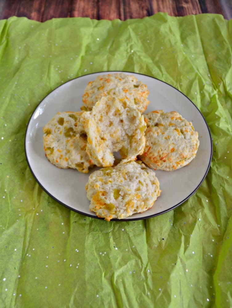 Grab a pat of butter and enjoy one of these fluffy Green Chile and Cheddar Biscuits