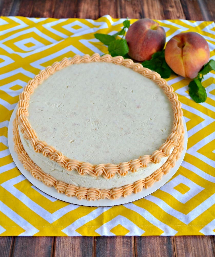 Make a delicious Brown Butter and Peach Chardonnay Ice Cream Cake in just minutes!