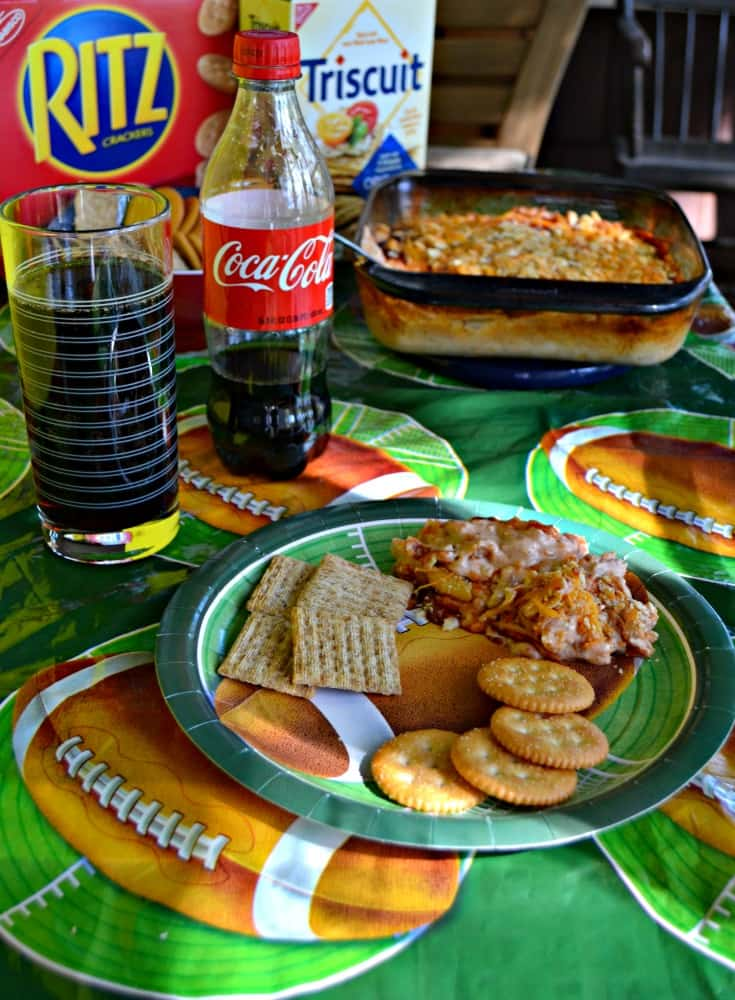 Grab a glass of Coca-Cola and some RITZ and enjoy this awesome BBQ Chicken Dip!