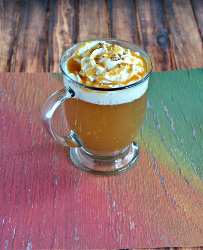 Top your Caramel Apple Cider off with whipped cream and caramel sauce!