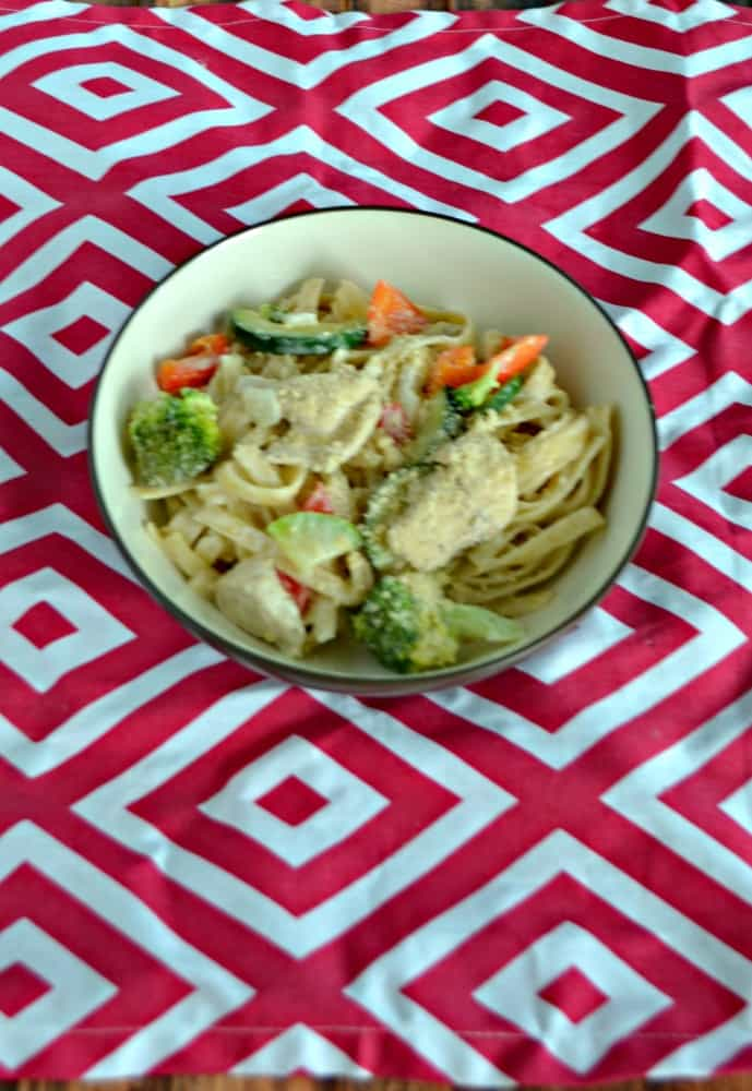 Grab a fork and dig into this delicious Fettuccine Alfredo with Chicken and Vegetables