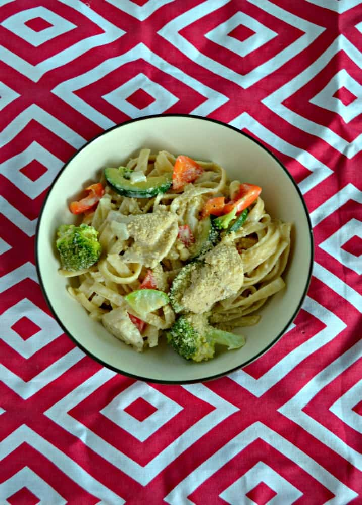 Grab a fork and dig into this Lemon Fettuccine Alfredo with Chicken and Vegetables