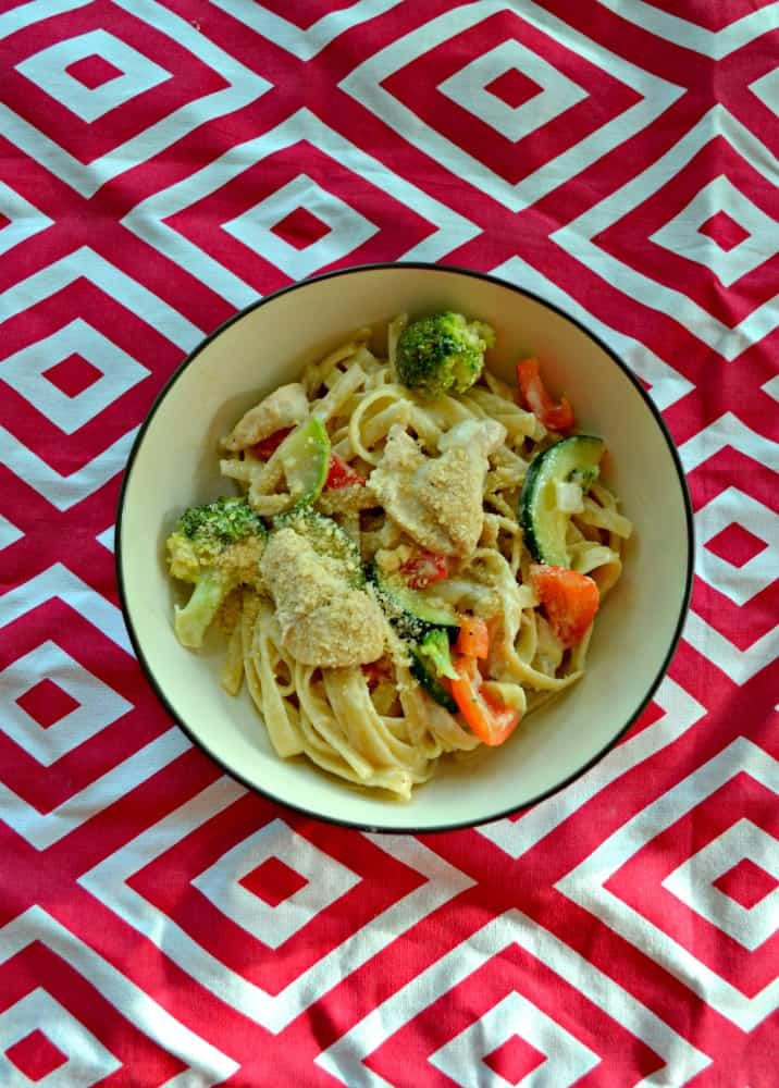 Taste this incredible Lemon Fettuccine Alfredo with Chicken and Vegetables
