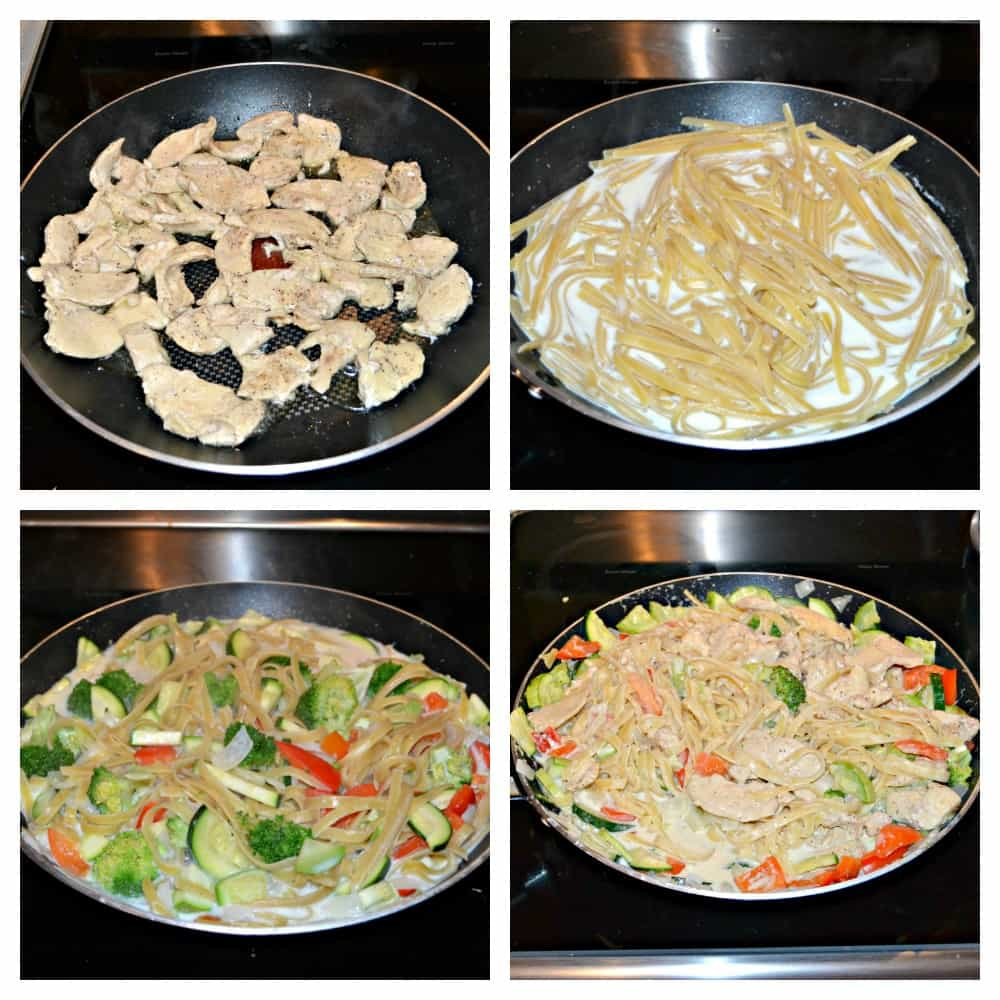 Make an easy one pot Lemon Fettuccine Alfredo with Chicken and Vegetables