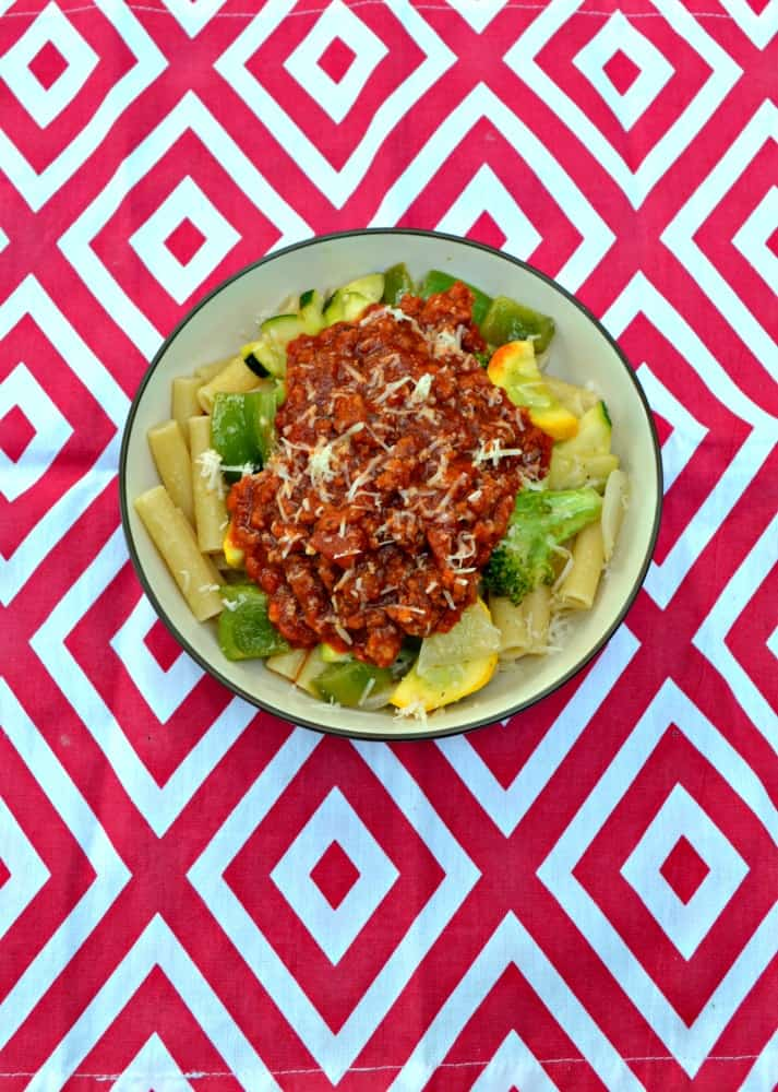 Enjoy a big bowl of Pasta Primavera with Chorizo!