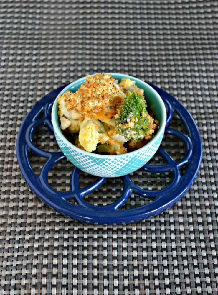 Your family will love this Broccoli and Cauliflower Cheese Casserole topped with breadcrumbs