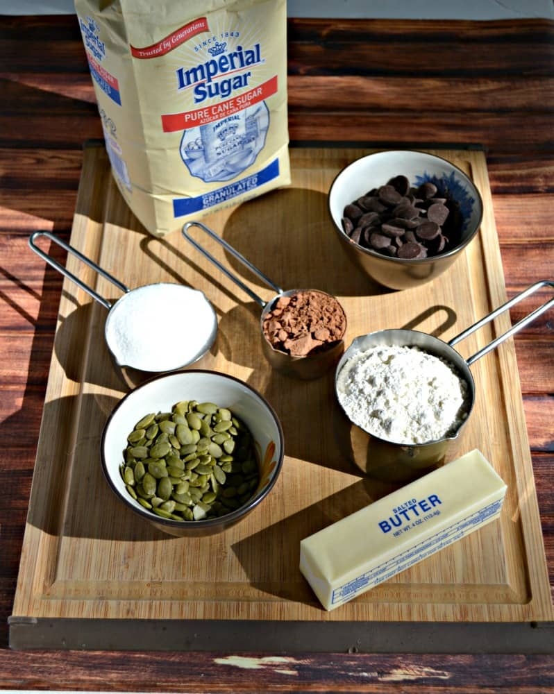 Everything you need to make Chocolate Chunk Pumpkin Seed Cookies