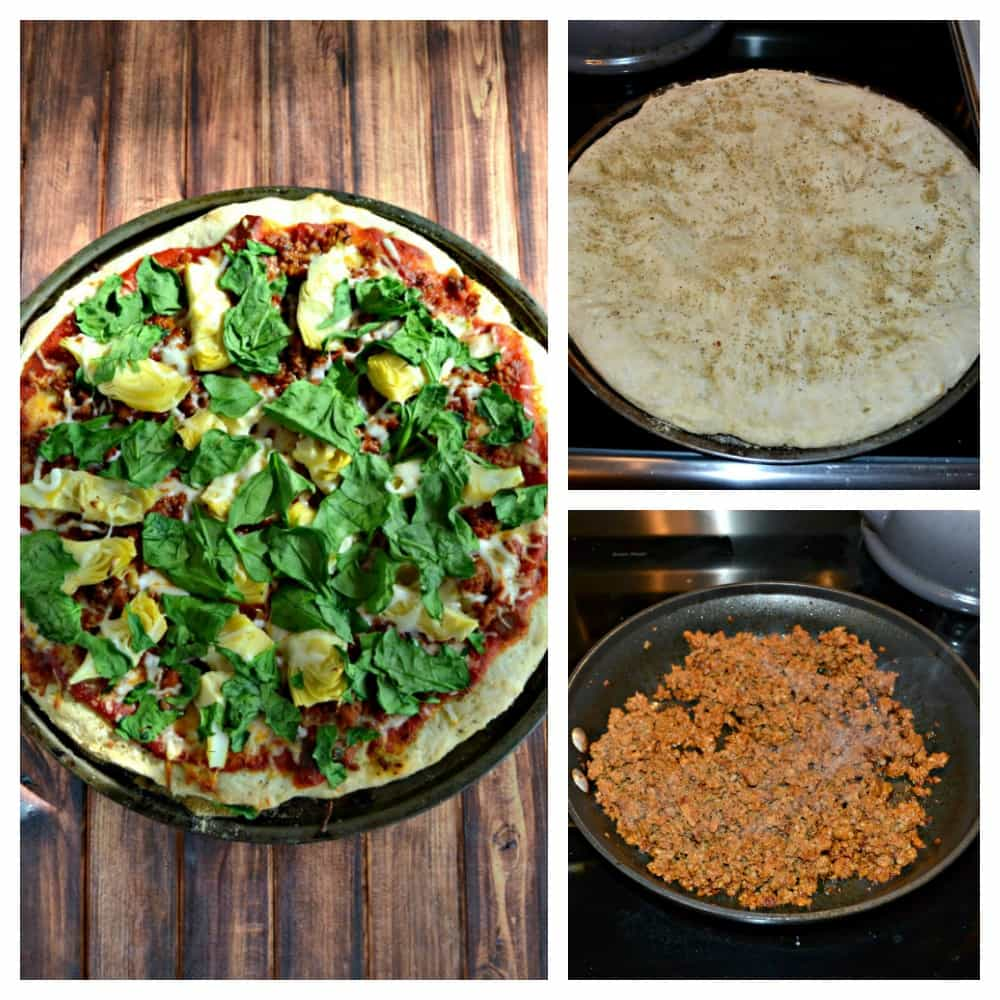 Everything you need to make a Chorizo, Spinach, and Artichoke Pizza