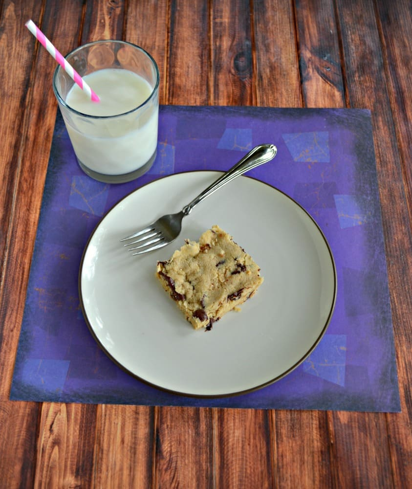 Gluten Free Chocolate Chip Cookie Bars are crumbly and delicious!