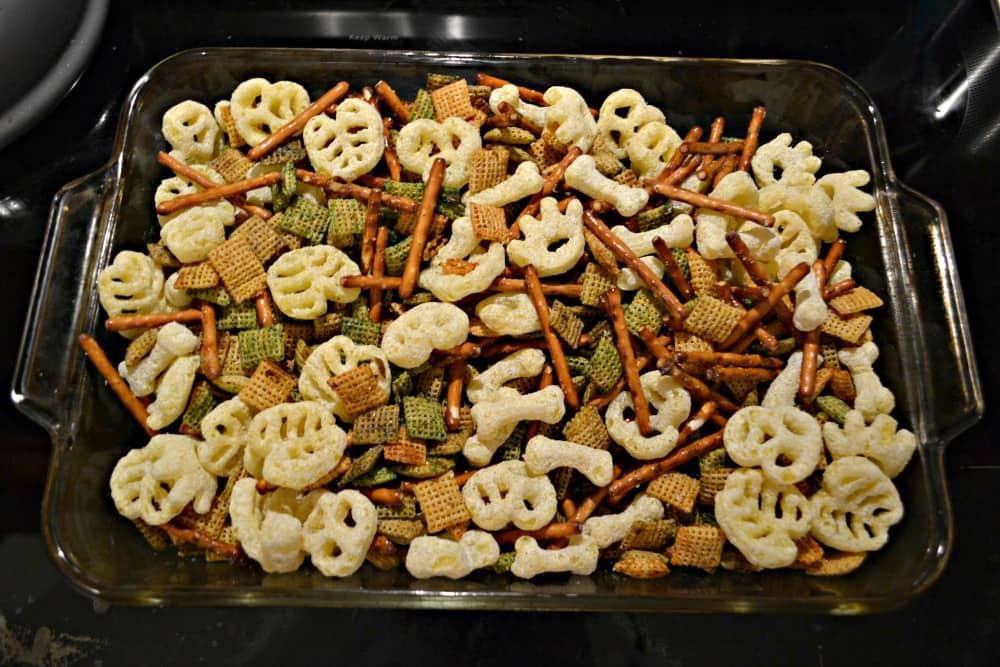 Toss up a bowl of this easy Halloween snack mix!