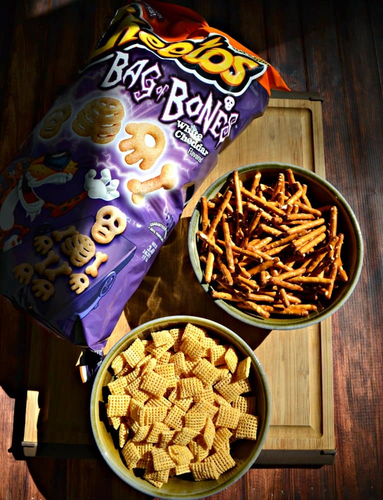 Everything you need to make a tasty Halloween Snack Mix!
