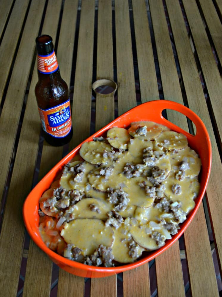 Celebrate Oktoberfest with these amazing Oktoberfest Potatoes with brats, cheese, and beer!