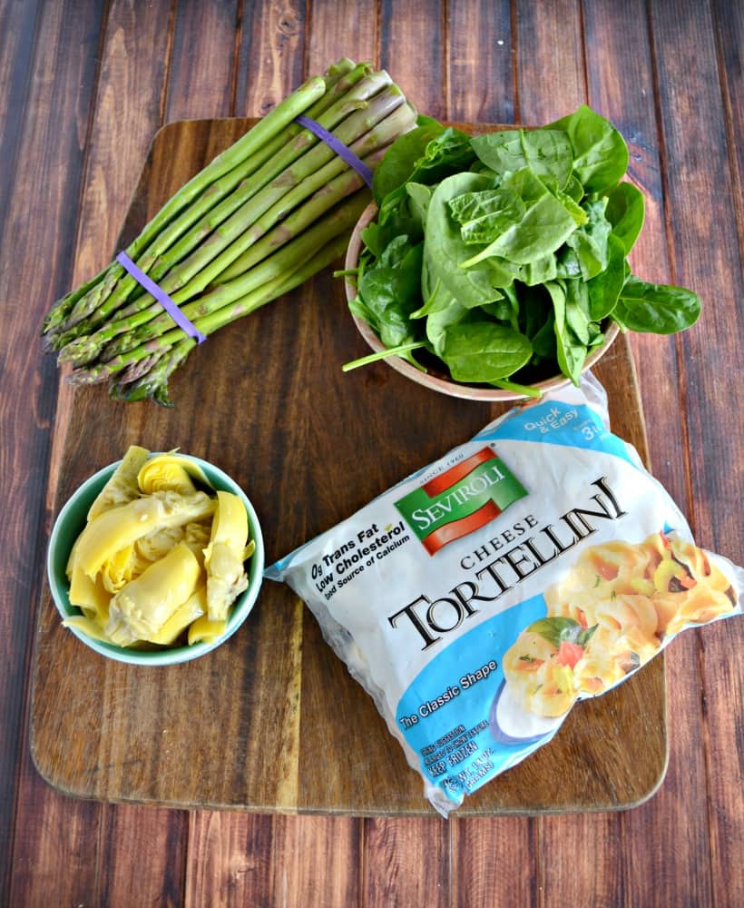 Everything you need to make Spinach Artichoke Tortellini with Creamy Lemon Sauce