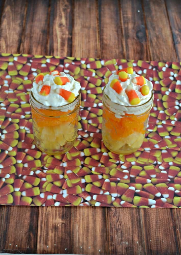 Make a healthier Halloween snack with these Candy Corn Fruit Parfaits!