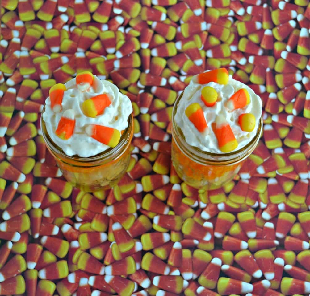 Candy Corn Fruit Parfaits are a healthier Halloween snack!