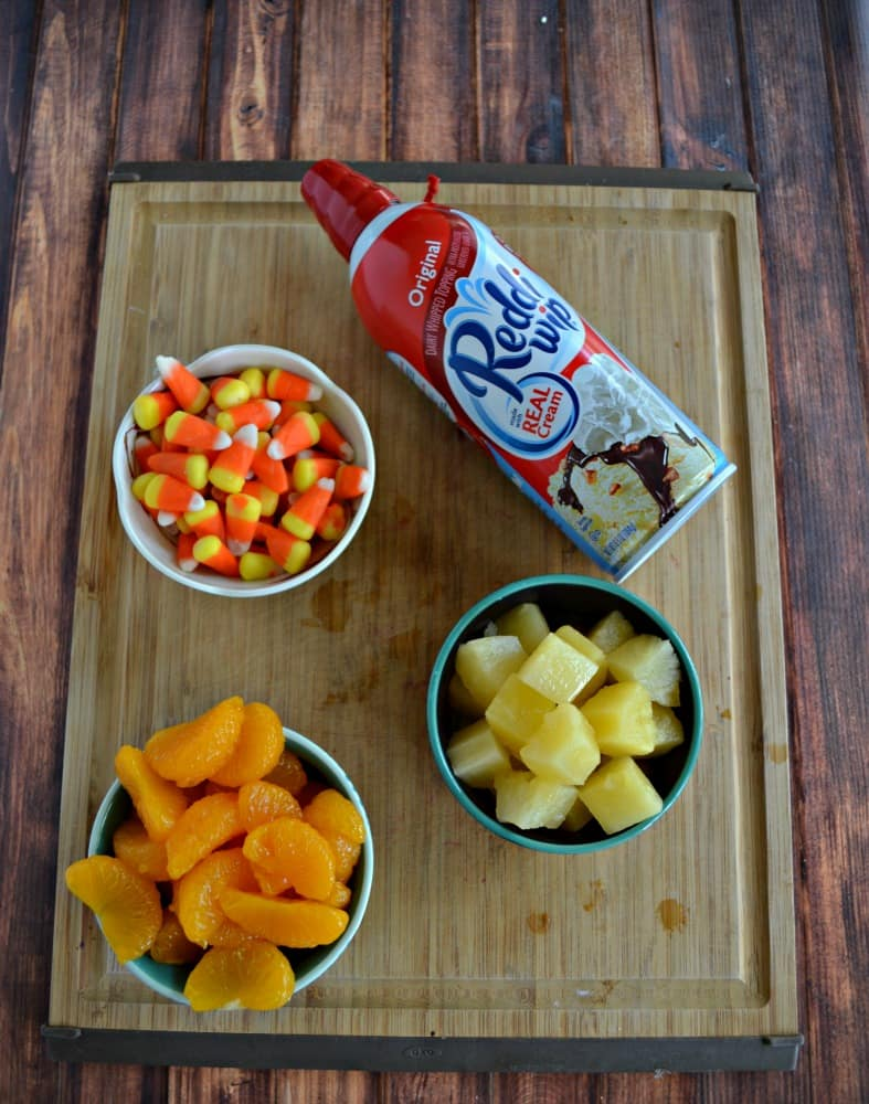Everything you need to make Candy Corn Fruit Parfaits