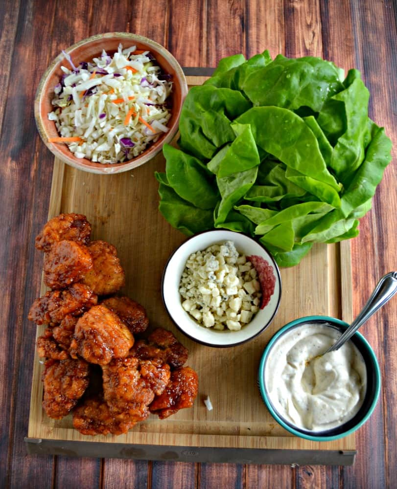 Everything you need to make Boneless BBQ Chicken Wing Lettuce Wraps!