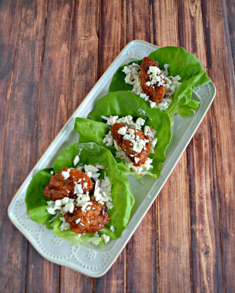 These Boneless BBQ Chicken Wing Lettuce Wraps are a delicious Game Day snack!