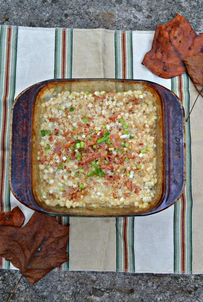 Creamy Corn Casserole is made with fresh corn, bacon, and onions!