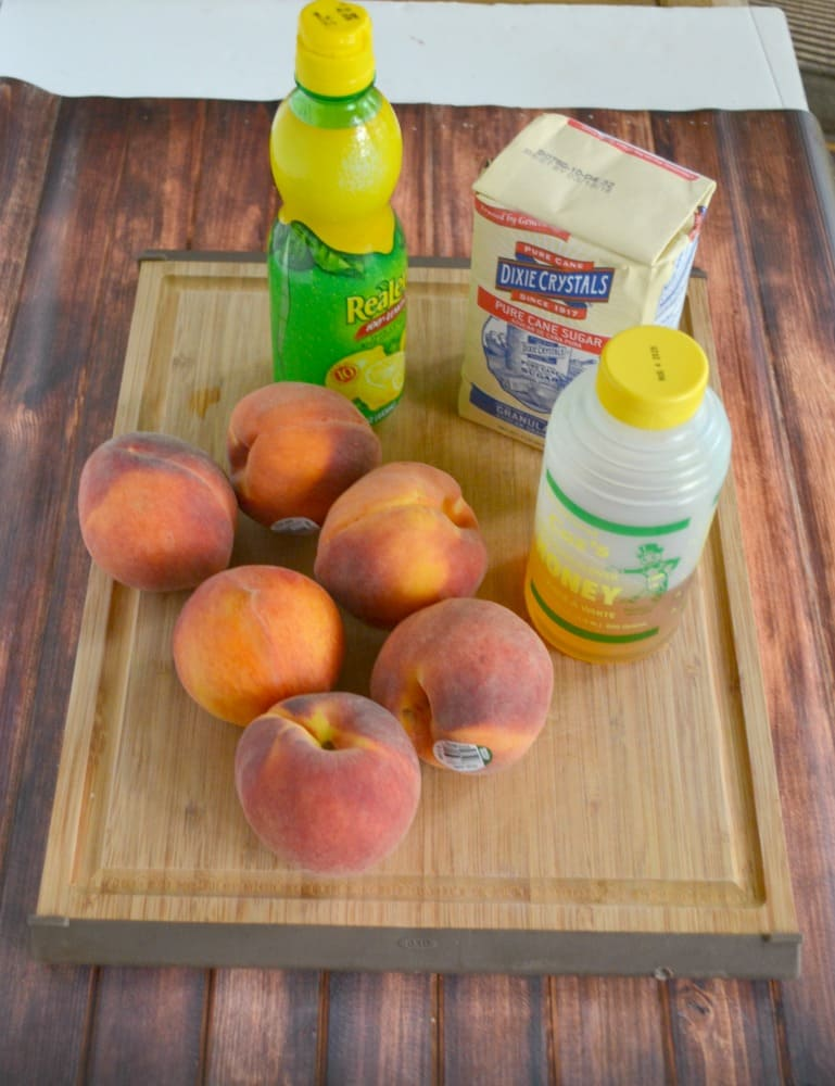 Everything you need to make Peach Jam with Bourbon and Honey