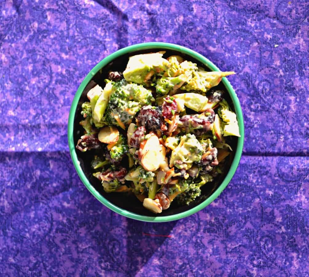 Need a healthier holiday side dish? Try my Lightened Up Broccoli Salad with Cranberries and Almonds
