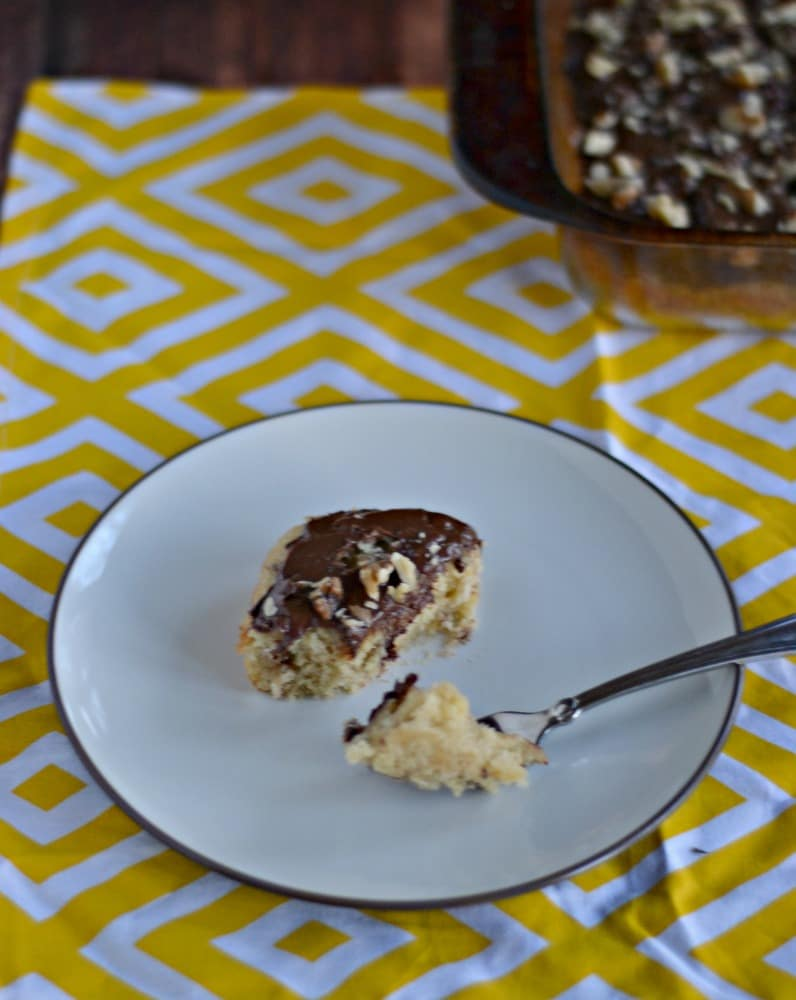 Take a bite out of these delicious Caramel Banana Bars with Chocolate Glaze and Walnuts