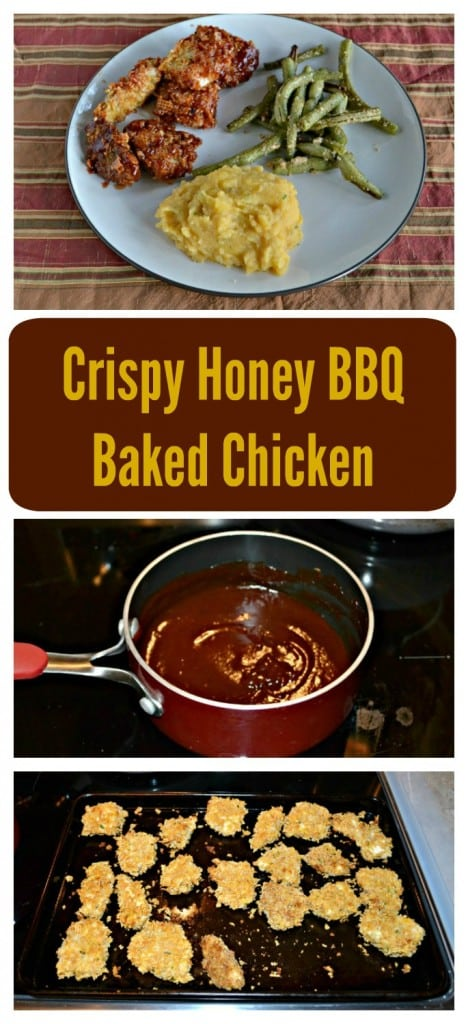 Looking for a delicious weeknight meal? This delicious Crispy Honey BBQ Baked Chicken recipe is one the entire family will love!