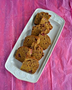 Looking for a tasty dessert to go with coffee? This Spiced Pumpkin Cranberry Bread is easy to make and delicious!