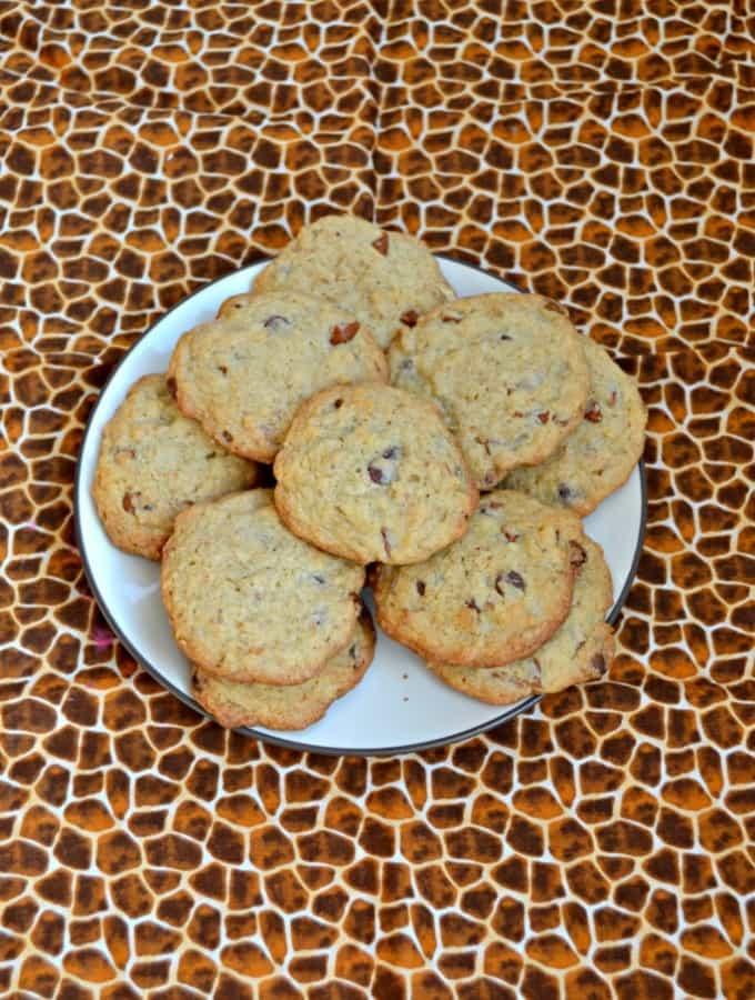 Take a bite out of these sweet and salty Spiced Walnut Pretzel Cookies with Chocolate Chips!