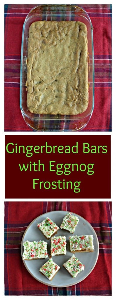 Looking for a fun and festive holiday treat? Try these sweet and spicy Gingerbread Bars topped with Eggnog Frosting!