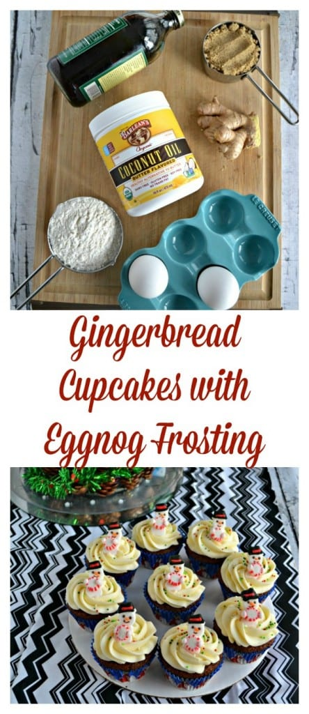 Looking for a fun holiday dessert? Try these delicious spiced Gingerbread Cupcakes topped with Eggnog Frosting and tiny little snowmen!