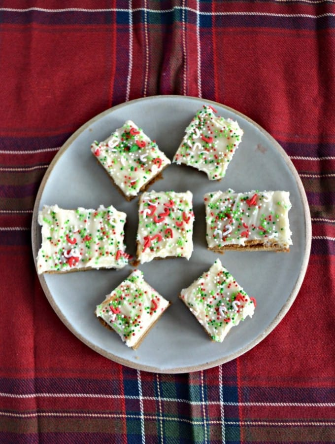 Getting ready for the holidays? Don't forget these Gingerbread Bars topped with Eggnog Frosting and sprinkles!