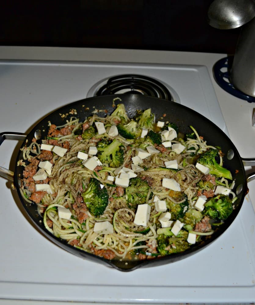 Make your pasta a little healthier with zoodles and add some flavor with Broccoli and Sausage!