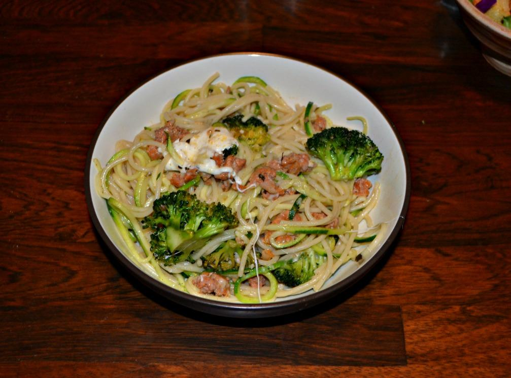 Looking for a quick and flavorful dinner idea? Try this Pasta and Zoodles with Sausage and Broccoli!
