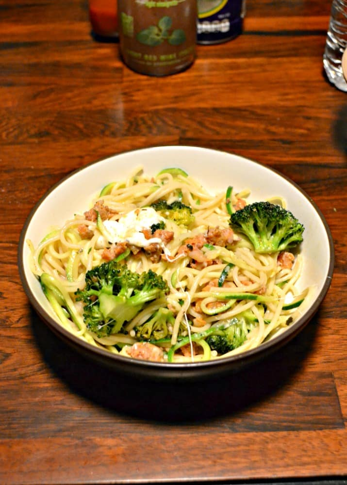 Need a quick dinner idea the whole family will enjoy? Try this Pasta and Zoodles with Broccoli and Sausage!
