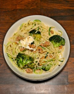 Sausage and Broccoli Pasta and Zoodles