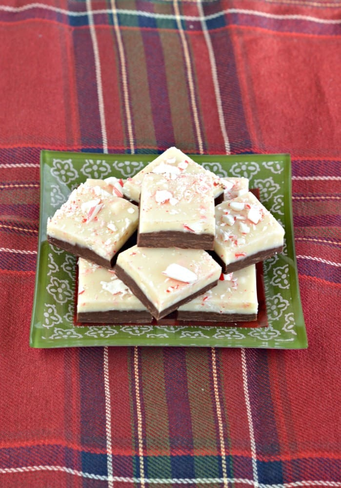 Double layer Peppermint Bark Fudge has a layer of chocolate fudge topped by a white chocolate peppermint fudge layer!