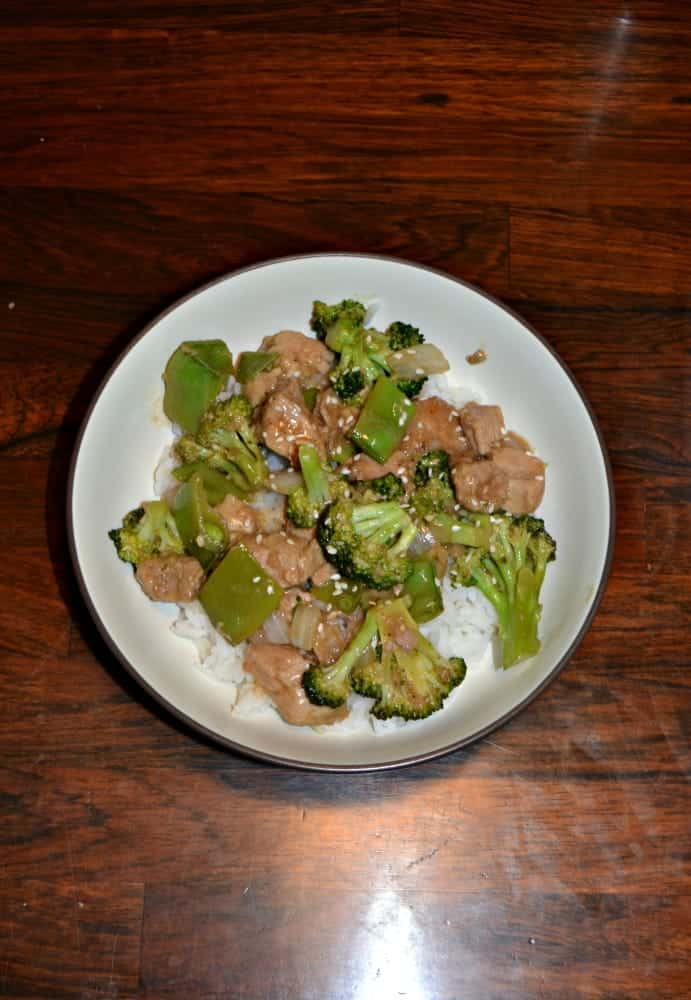 This quick and tasty Lemon Garlic Pork and Broccoli Rice Bowl is a delicious weeknight meal.