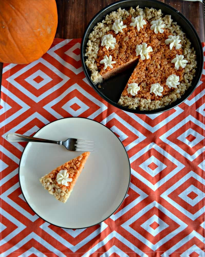 Need a fun holiday recipe? Try a slice of this Pumpkin Pie Rice Krispies Treat!