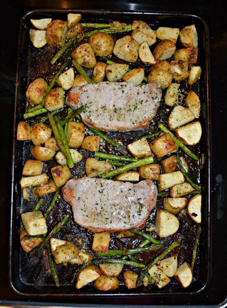 Looking for a delicious weeknight meal? Try this 30 minute Sheet Pan Pork Dinner!